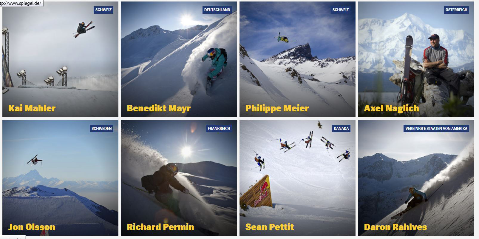Screenshot Redbull.com Athletensuche