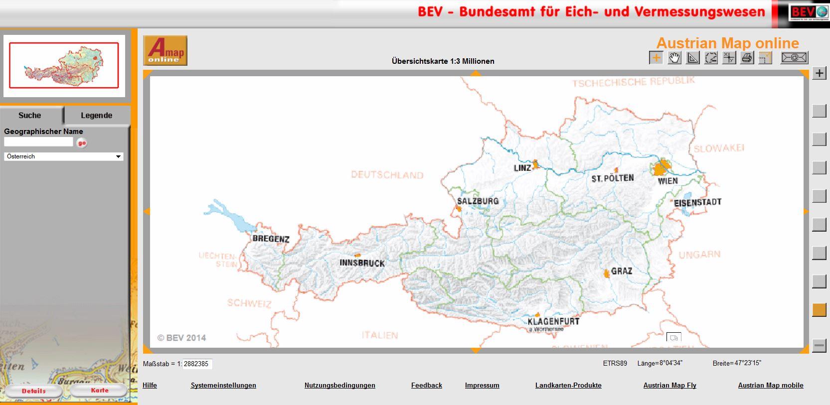 Topografische karten online austria österreich amap