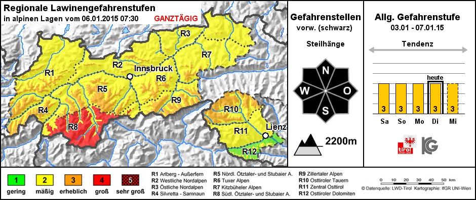 Lawinenlagebericht Tirol 6.1.2015