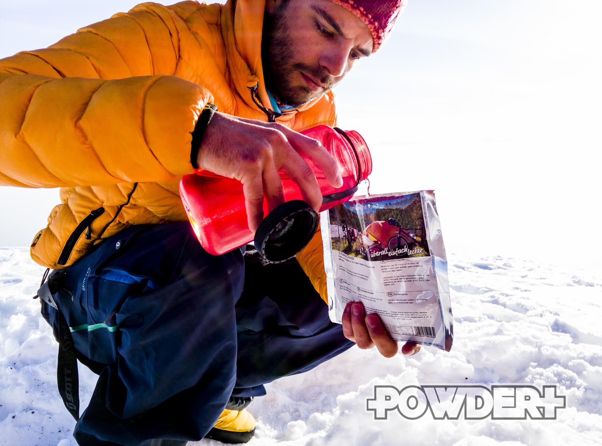 wintercamping, outdoornahrung, freeride, zelten, camping, essen, campingnahrung